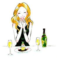 デザートを前に、うれしそうな女性