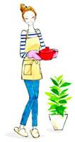 鍋で料理を運んでいる女性