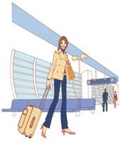 空港でキャリーケースを持っている女性 02463000237| 写真素材・ストックフォト・画像・イラスト素材|アマナイメージズ