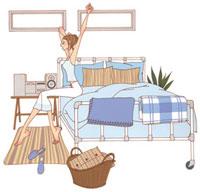 ベッドで伸びをしている女性