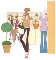 鞄屋さんを見ている女性