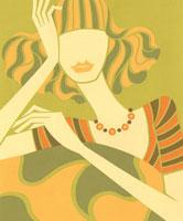 ほおづえをついている女性の切り絵