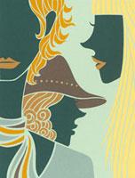 3人の女性の切り絵