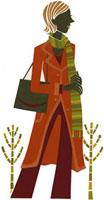 コートを着た女性と葉の落ちた木の切り絵
