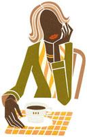 カフェでほおづえをついている女性の切り絵