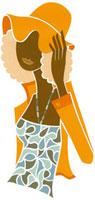 帽子をおさえている女性の切り絵