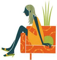 ソファに座っている女性の切り絵