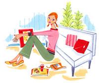 ソファにもたれ、くつろいでいる女性 02463000264| 写真素材・ストックフォト・画像・イラスト素材|アマナイメージズ