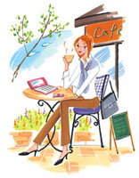 オープンカフェでノートパソコンを開いている女性