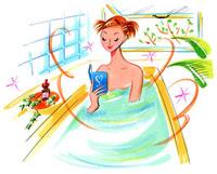 浴槽につかりながら本を読んでいる女性