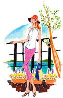 湖の近くに立っている女性 02463000273| 写真素材・ストックフォト・画像・イラスト素材|アマナイメージズ