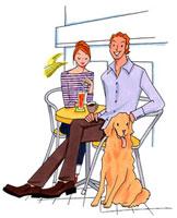 オープンカフェにいるカップルと犬