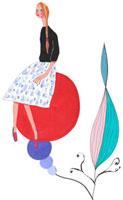 女性が植物に座っているイメージ 02463000299| 写真素材・ストックフォト・画像・イラスト素材|アマナイメージズ