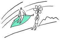 葉に乗っている男性と花につかまって飛んでいる男性