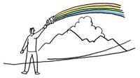 空にカラフルな虹を描く男性