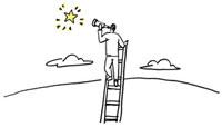 はしごにつかまって望遠鏡で星を見る男性 02463000305| 写真素材・ストックフォト・画像・イラスト素材|アマナイメージズ