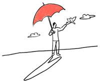 傘をさす男性と鳥