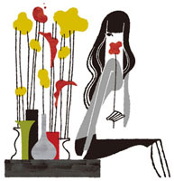 生けた花と花の香りをかぐ女性 02463000310| 写真素材・ストックフォト・画像・イラスト素材|アマナイメージズ