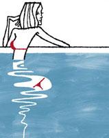 プールに入っている赤い水着の女性 02463000311| 写真素材・ストックフォト・画像・イラスト素材|アマナイメージズ