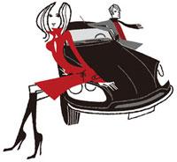 車に寄り添う赤いコートの女性とマフラーをした男性 02463000314| 写真素材・ストックフォト・画像・イラスト素材|アマナイメージズ