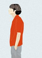 ポケットに手をいれて佇む横顔の男性