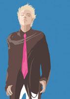 ピンクのネクタイをした金髪の20代男性