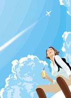 飲み物を片手に空を飛ぶ飛行機を見上げる女性