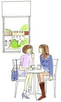お茶をしながら会話する二人の女性
