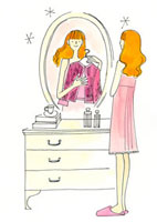 鏡台の鏡で服を合わせている女性