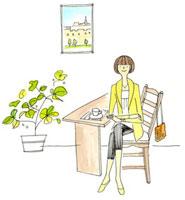 お茶をして休憩中の女性