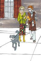 犬の散歩をしている大学生のカップル 02463000356| 写真素材・ストックフォト・画像・イラスト素材|アマナイメージズ