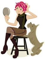 イスに座って鏡を見ている女性と犬
