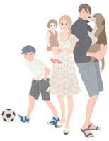 犬を抱く父親と子供を抱く母親とボールを蹴る男の子