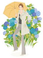 傘をさす女性とあじさい 02463000375| 写真素材・ストックフォト・画像・イラスト素材|アマナイメージズ