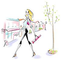 街中を歩くヨガマットを持つOL 02463000381| 写真素材・ストックフォト・画像・イラスト素材|アマナイメージズ