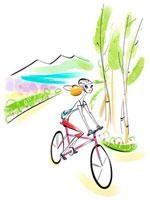 サイクリングしている女性