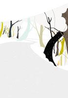 長く続く道と雪と木立