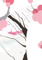 桜の木と川と街