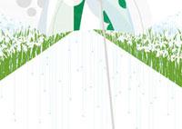 雨と傘と百合の花
