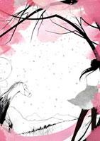 桜と草原にいる女性と馬