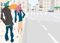 通りに佇むカップルと町並み