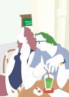 喫茶店でソーダを飲む男性と煙草を吸う女性