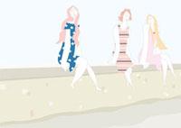 塀に腰掛けている3人の女性