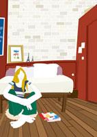 寝室の床に座り込む女性