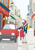 街中で車に乗ろうとしている女性