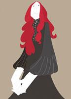 赤い髪の20代女性