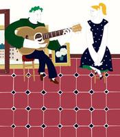 ギターを弾く男性とそれを聴いている女性