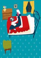 ベッドでおやつを食べながら本を読む女性
