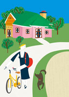 自転車を押して歩く女性と犬