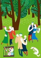森の中でダンスをする人々